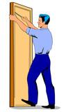 Repairman fixing door poster