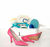 Cleaning Supplies and Pink High Heels poster
