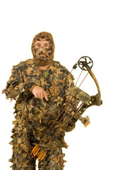 Bowhunter in 3D Camouflage-isolated