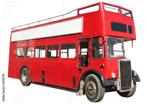 Old fashioned London red double-decker bus