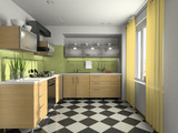 Fototapety Interior of modern kitchen 3D rendering