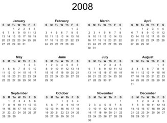 2008 Year calendar, simple, against white background