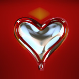 Silver heart cutout with red background poster
