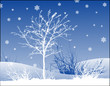 winter landscape / vector background / snowflakes and tree