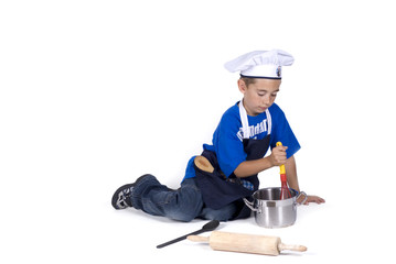 a cooking boy, isolated on white