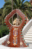 sculpture in guell park in barcelona poster