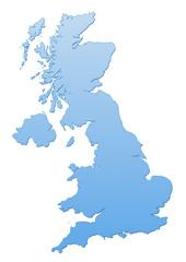 Carte du Royaume Unis bleu