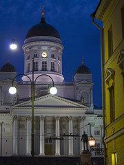 Helsinki cathedral front view in night