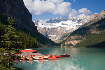 Canoes on Lake Louise