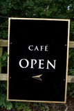 sign. sign of cafe. open. access to cafe poster