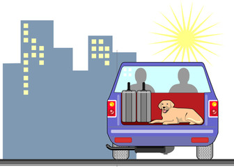 Blue pickup truck with dog and building