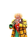 clown with trumpet, on white background poster