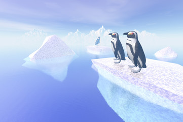 3D render of penguin at the artic
