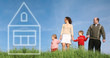 family standing on the grass and imagine house