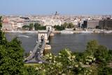 Danube, Chain Bridge and Budapest view poster