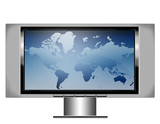 plasma screen tv with map poster