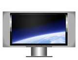 plasma screen tv with earth poster