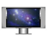 plasma screen tv with nebula poster
