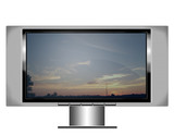 plasma screen tv with sunset poster
