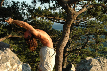 Yoga Back Stretch on top of Sugarloaf Mountain