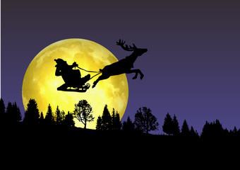 Départ du Père Noël au-dessus de la forêt