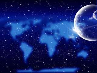 Starry cosmic background with planets and blurred world map