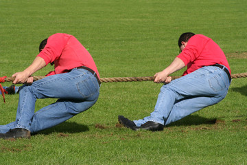 two men in tug of war competition