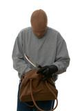 Mugger searching a handbag. poster