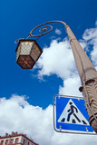 st.petersburg street lamp with pedestrian crossing sign poster
