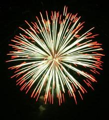 Night celebration fireworks upon dark sky 031
