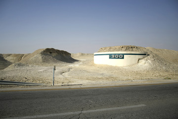 -300m altitude mark on the raod leading to the dead sea region