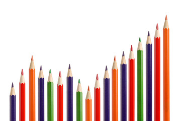 Business graph illustrating growth made up of pencils