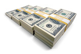 Increasing Stacks of Hundred Dollar Bills on a white background. poster
