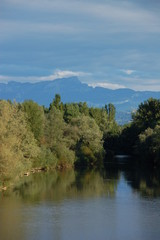 River view with mountains in the background