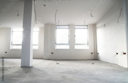 Empty flat in construction. Architecture construction concept