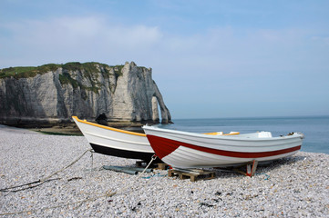 Fishing boats on the beach at Etretat, France