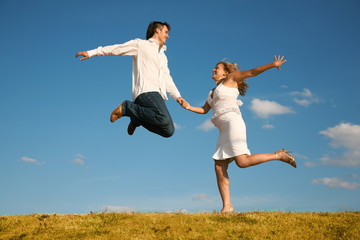 jumping couple