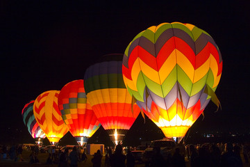 hot air baloons at night