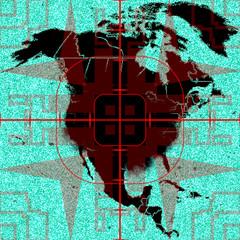 Illustration of North America as terrorist target