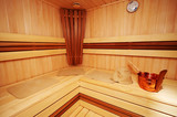 New and wooden sauna in modern hotel poster