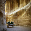 Tourists in the siq of Petra in Jordan