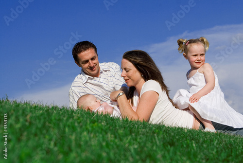 happy  young family having fun outdoors
