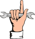 Hand with spanner poster