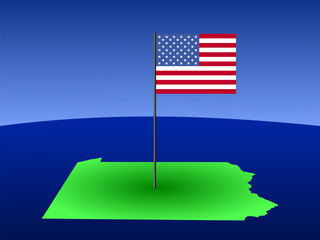map of Pennsylvania with Flag