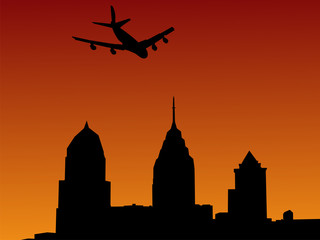 plane arriving at Philadelphia