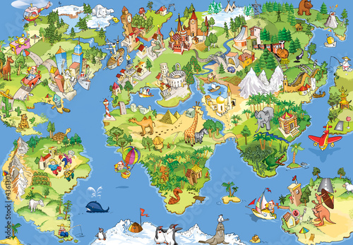 Fototapeta Great and funny world map
