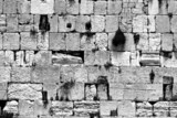 black and white cut out of the wailing western wall, jerusalem poster