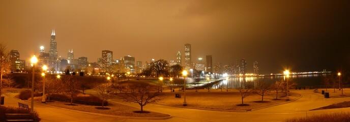Chicago - Skyline mit gefärbtem Himmel