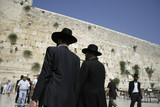 Hasidic jews at the wailing western wall,  israel