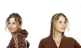 Sporty Twins - Two isolated girls wearing brown sweater poster